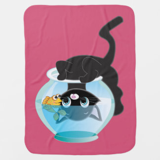 Cheeky Kitten, Fish and Bowl Blanket