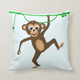 Cheeky Little Monkey Cute Cartoon Animal Throw Pillow