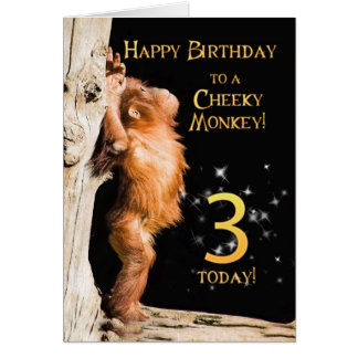 Cheeky monkey age 3 card