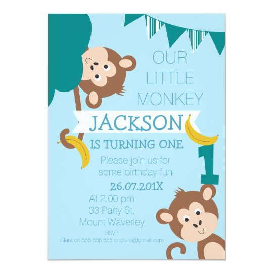 Cheeky Monkey Bananas Boys 1st Birthday Invitation