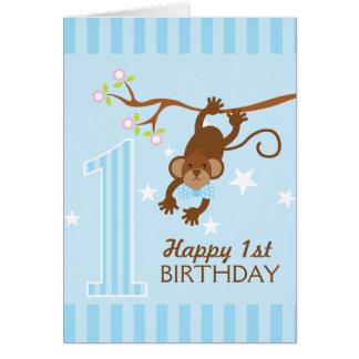 Cheeky Monkey Blue Stripes Happy 1st Birthday Card
