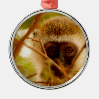 Cheeky Monkey. Silver-Colored Round Decoration