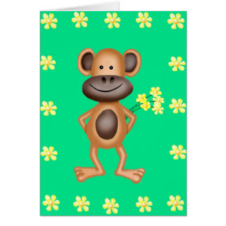 Cheeky Monkey With Flowers Card