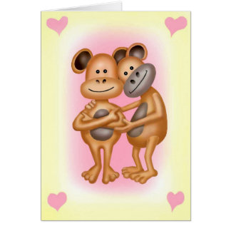 Cheeky Monkeys In Love Card