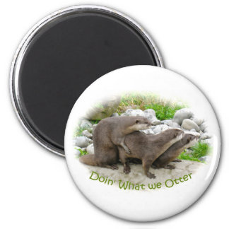 Cheeky Otters 6 Cm Round Magnet
