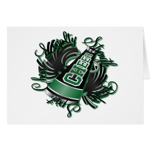 Cheer Black and Green Qualities Greeting Card
