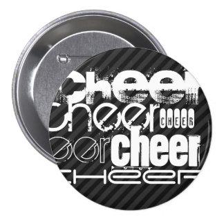Cheer; Black & Dark Gray Stripes 7.5 Cm Round Badge