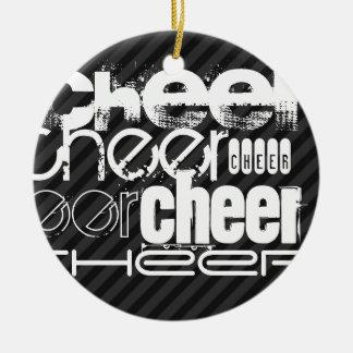 Cheer; Black & Dark Gray Stripes Christmas Ornament