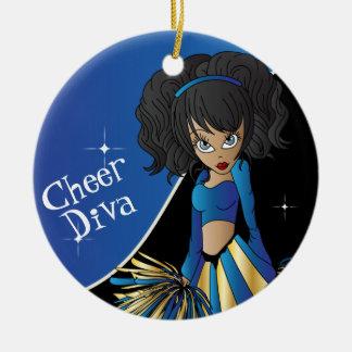 Cheer Blue Cheerleader Diva Girl Christmas Ornament