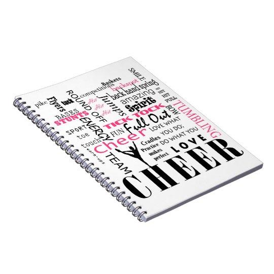 cheer cheerleading pink and black notebook