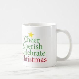 Cheer, Cherish, Celebrate Christmas! Basic White Mug