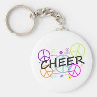 Cheer Colored Peace Signs Key Ring