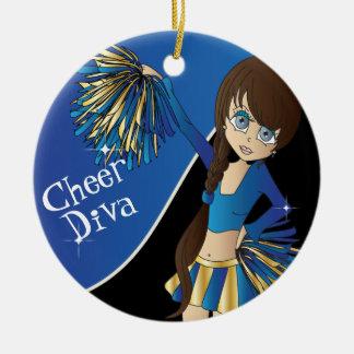 Cheer Diva Blue Cheerleader Girl Christmas Ornament