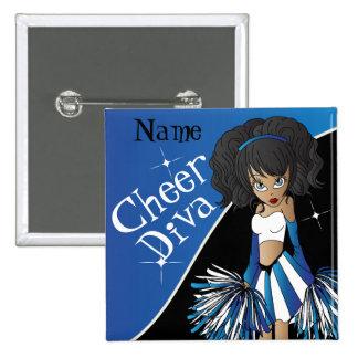 Cheer Diva Cheerleader Girl | DIY  Name | Blue 15 Cm Square Badge