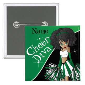 Cheer Diva Cheerleader Girl | DIY Name | Green 15 Cm Square Badge