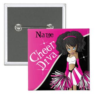 Cheer Diva Girl Cheerleader in Pink 15 Cm Square Badge