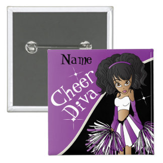 Cheer Diva Girl Cheerleader in Purple 15 Cm Square Badge
