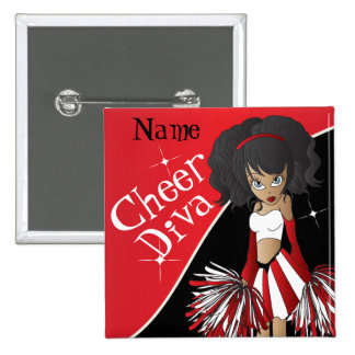 Cheer Diva Girl Cheerleader in Red 15 Cm Square Badge