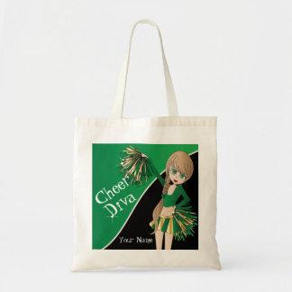 Cheer Diva Green Cheerleader Canvas Bags