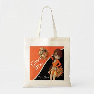 Cheer Diva Orange Cheerleader | DIY Name Tote Bag
