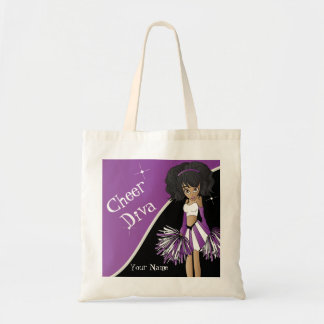 Cheer Diva Purple Cheerleader Girl Tote Bag