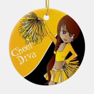 Cheer Diva Yellow Cheerleader Girl Christmas Ornament