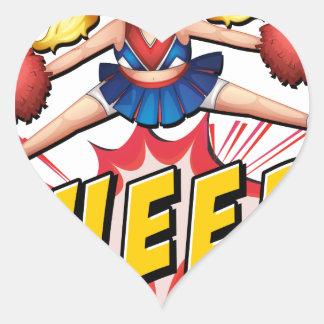 Cheer flash logo heart sticker