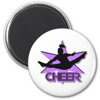 Cheer in purple 6 cm round magnet