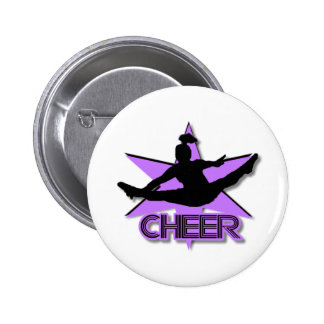 Cheer in purple 6 cm round badge