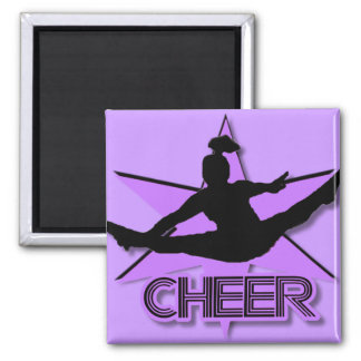 Cheer in purple square magnet