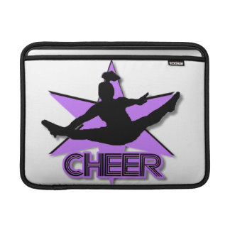 Cheer leader in purple MacBook sleeve