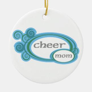 Cheer Mom Swirl Round Ceramic Decoration