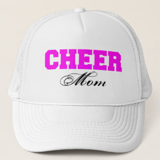 Cheer Mom Typography in Pink and Black Trucker Hat