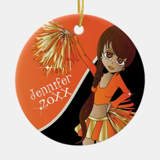 Cheer Orange Cheerleader Girl Christmas Ornament