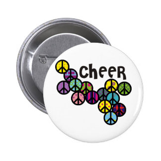 Cheer Peace Signs Filled 6 Cm Round Badge