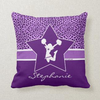 Cheer / Pom Cheetah Print with Monogram in Purple Throw Pillow