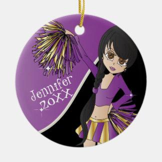 Cheer Purple Cheerleader Girl Christmas Ornament