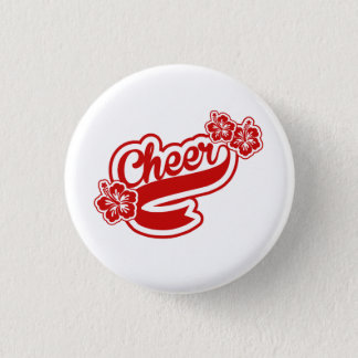 Cheer red flowers pin or button
