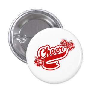Cheer red flowers pin or button 1 inch round button