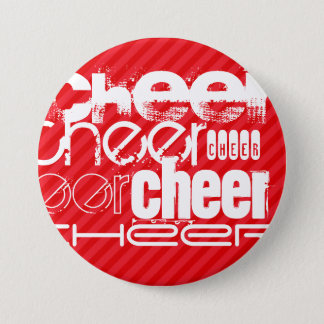 Cheer; Scarlet Red Stripes 7.5 Cm Round Badge