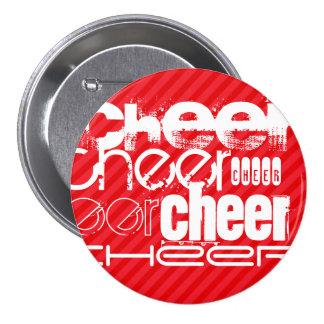 Cheer; Scarlet Red Stripes 7.5 Cm Round Badge