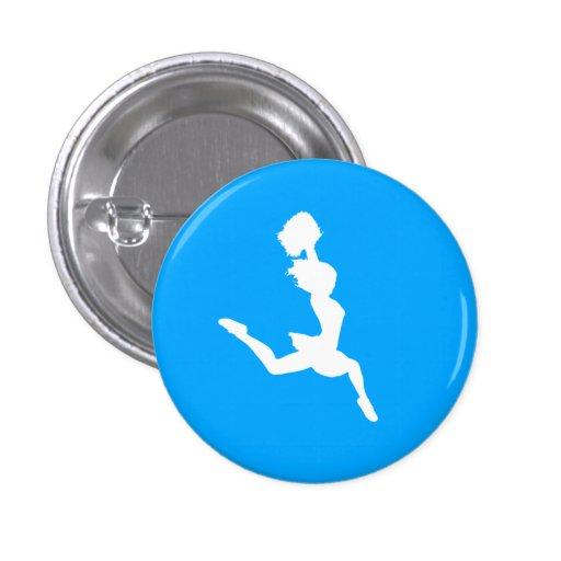 Cheer Silhouette Button Blue