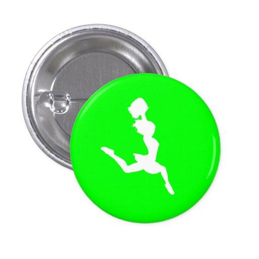 Cheer Silhouette Button Green