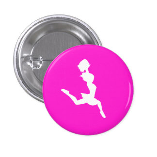 Cheer Silhouette Button Pink