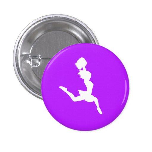 Cheer Silhouette Button Purple