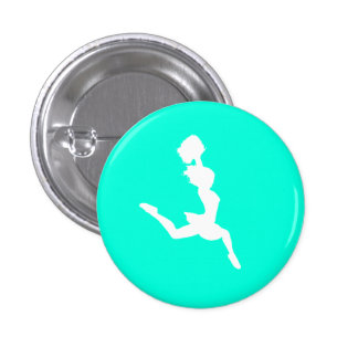 Cheer Silhouette Button Turquoise