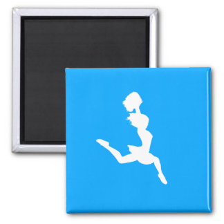 Cheer Silhouette Magnet Blue