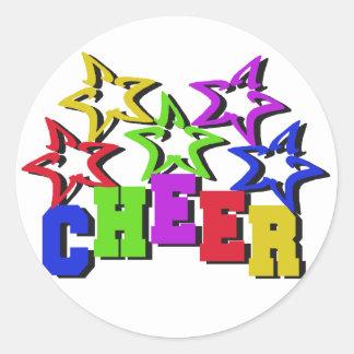 Cheer Stars Round Sticker