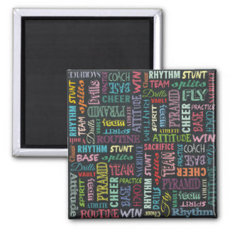 Cheer Terms On The Chalkboard Square Magnet
