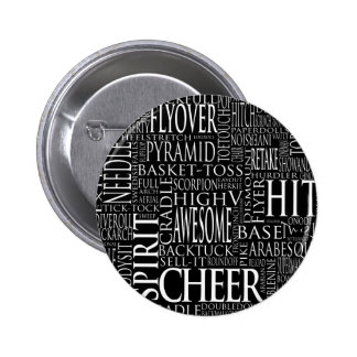 Cheer Terms Word Cloud in Black and White 6 Cm Round Badge